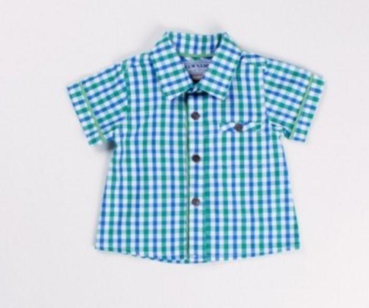 Camiseta de cuadros azules