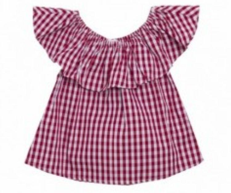 Camisa de cuadros rojos para niña