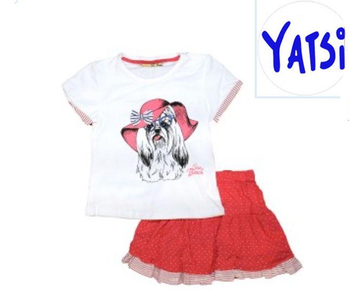 Conjunto para niña con camiseta y falda