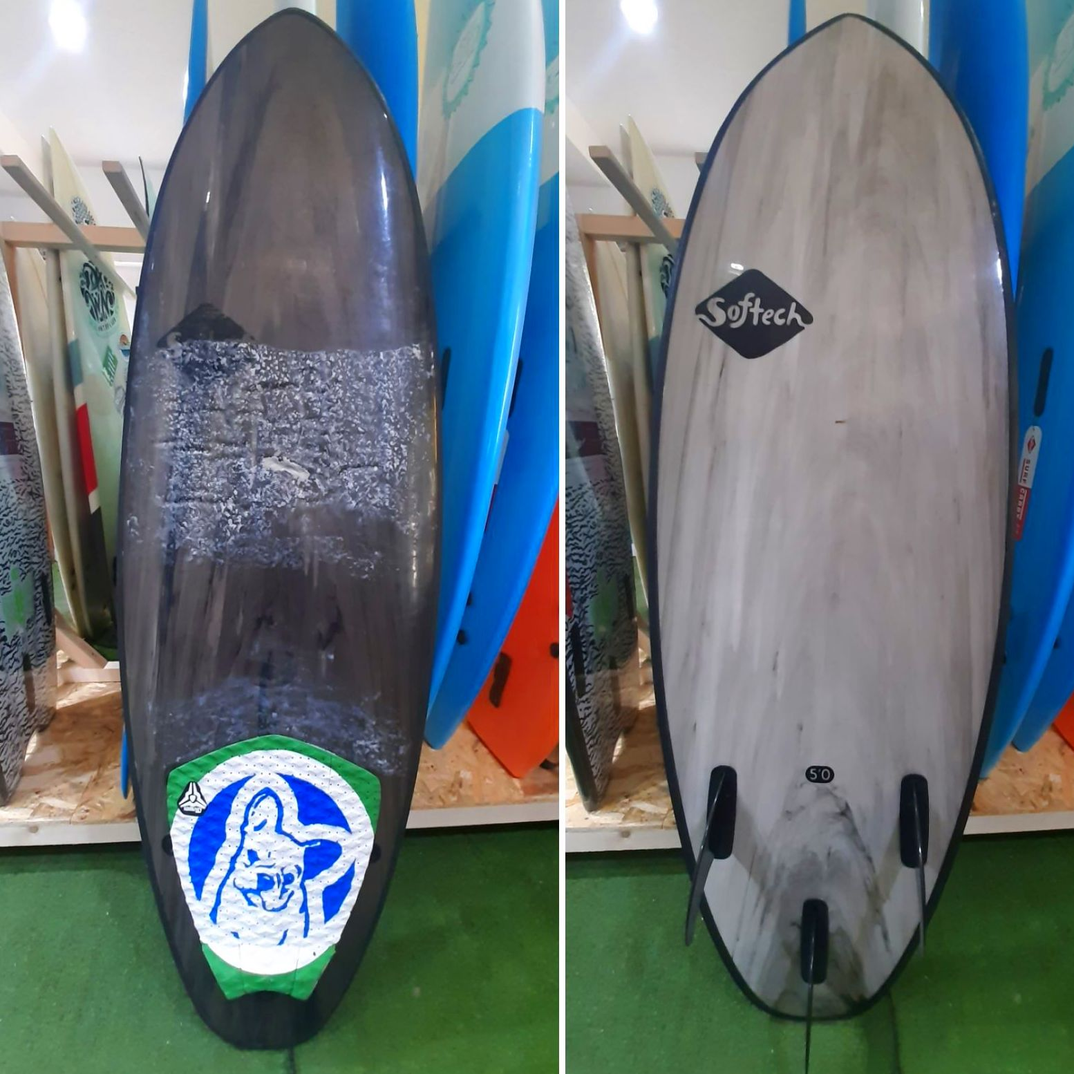 "SOFTECH FLASH ERIC GEISELMAN 5'0""- 7'0"" SOFTBOARD FCSII GREY MARBLE - 120€"
