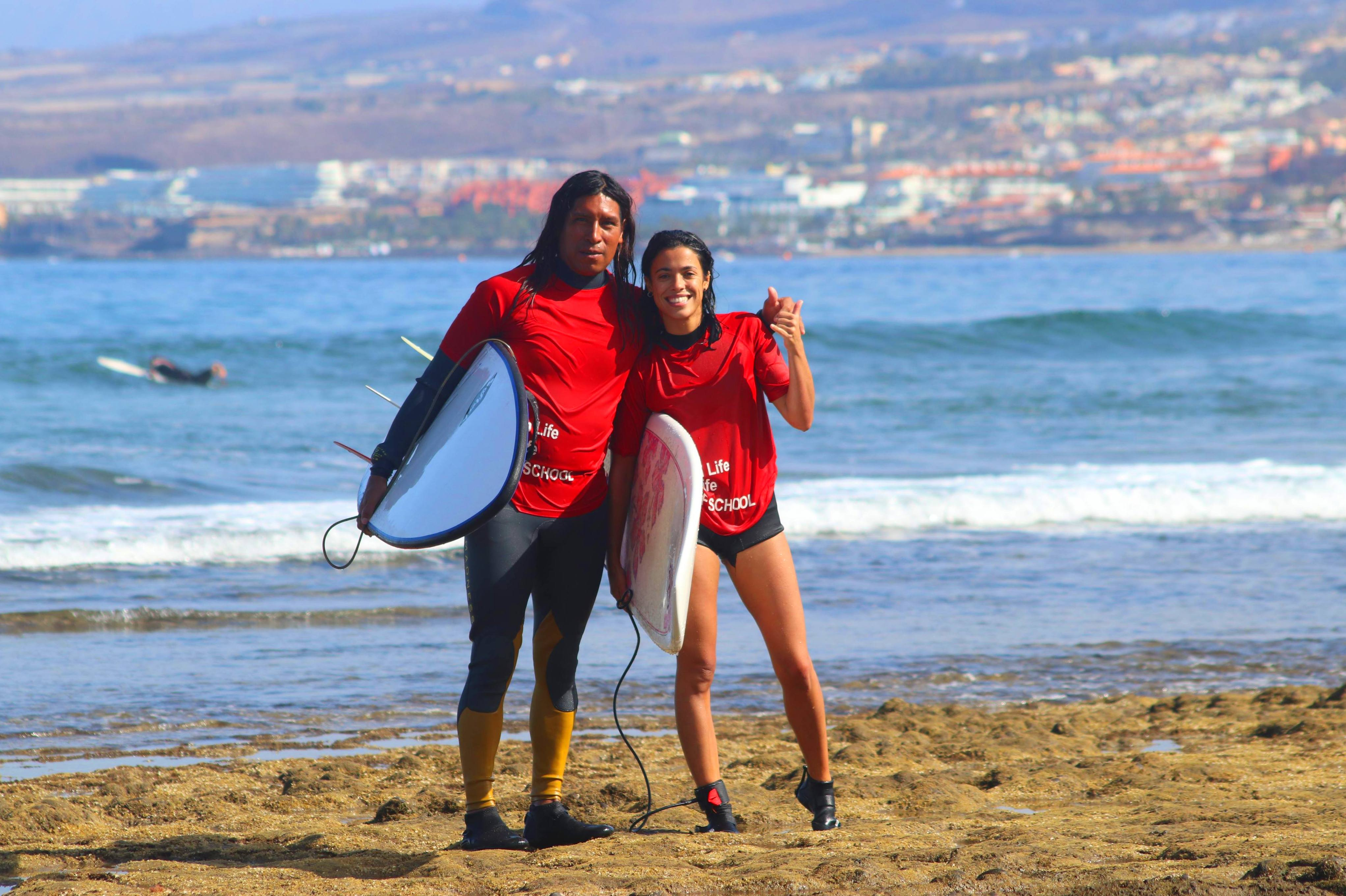 our student Maria happy after a good day of surfing!