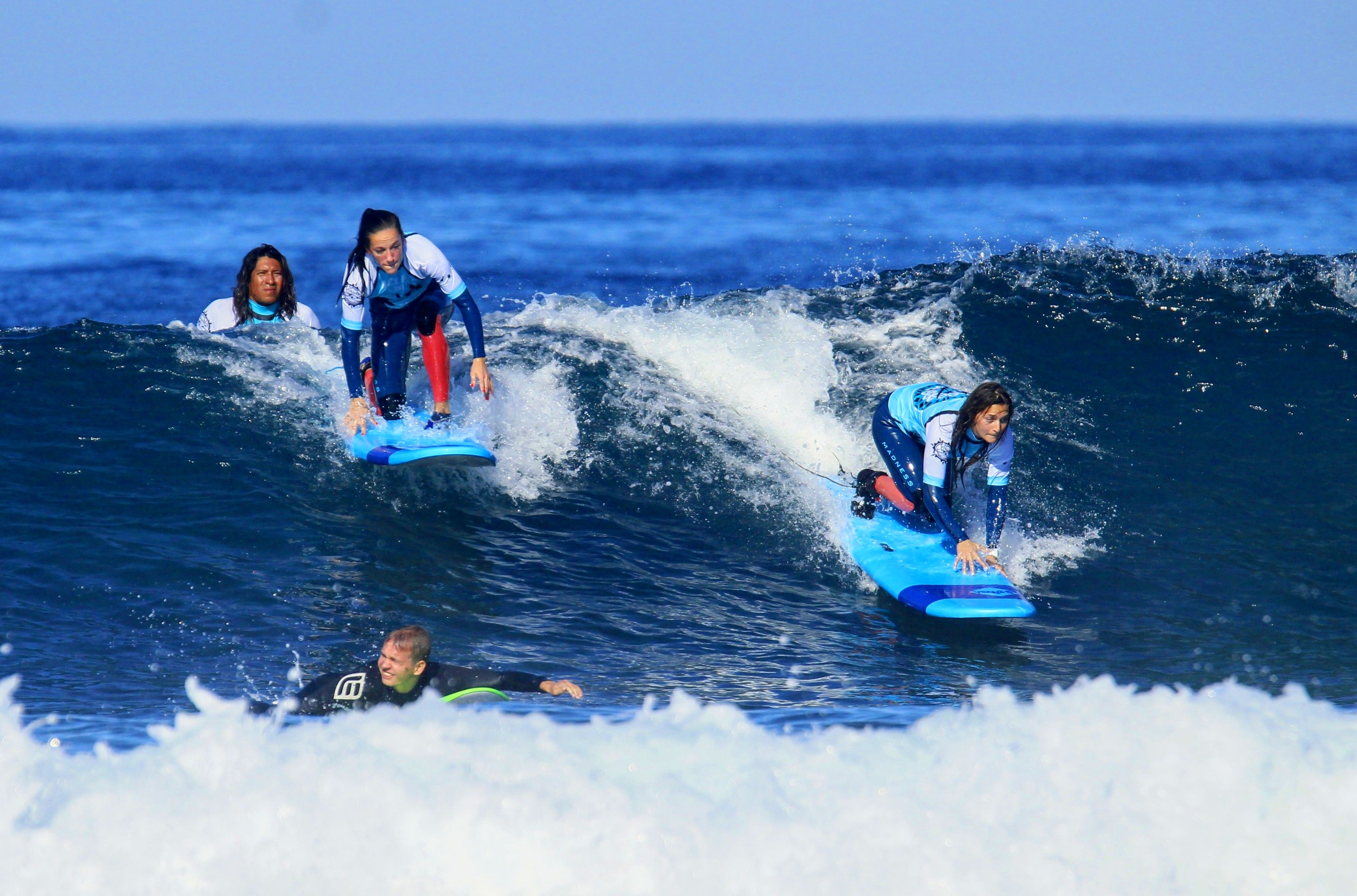 The Swedish girls riding her first wave.....