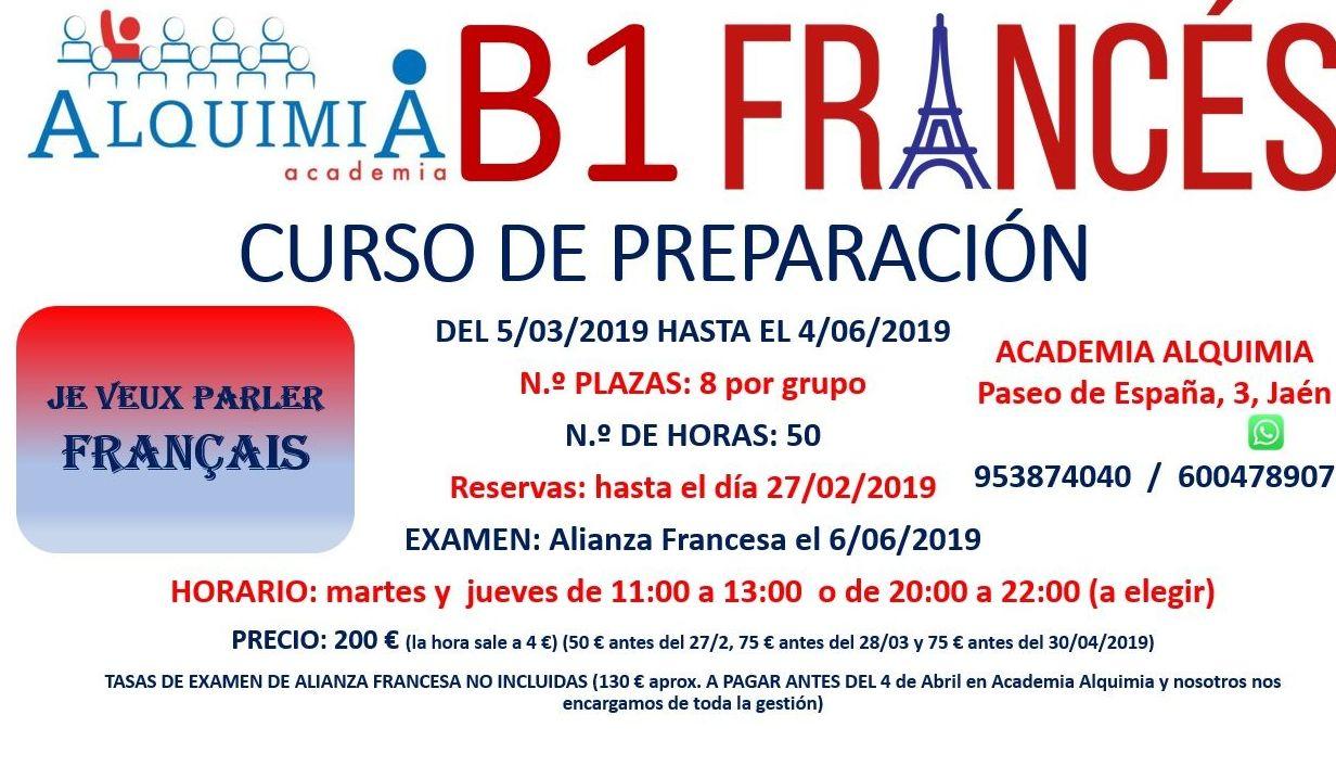 B1 DE FRANCES. (Examen Alianza Francesa 6 JUNIO 2019): NUESTRA OFERTA FORMATIVA de Alquimia