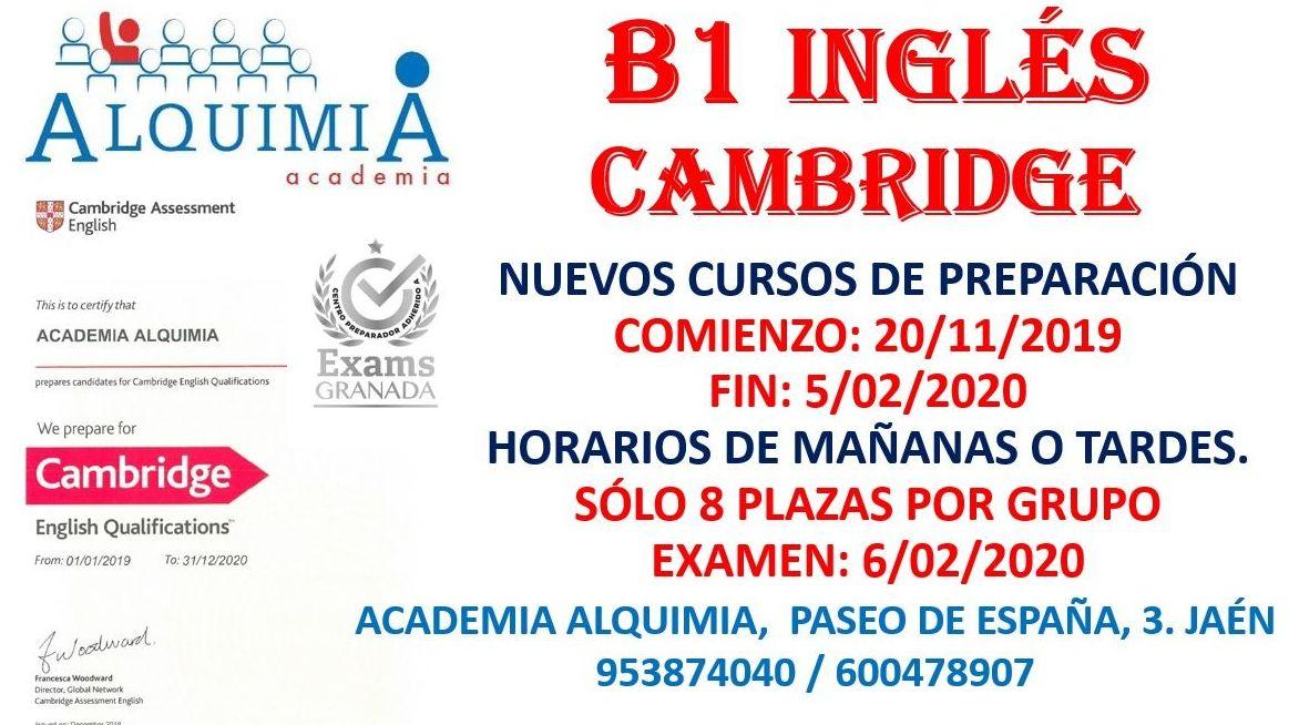 B1 INGLÉS. Curso de preparación al examen oficial del 6/02/2020