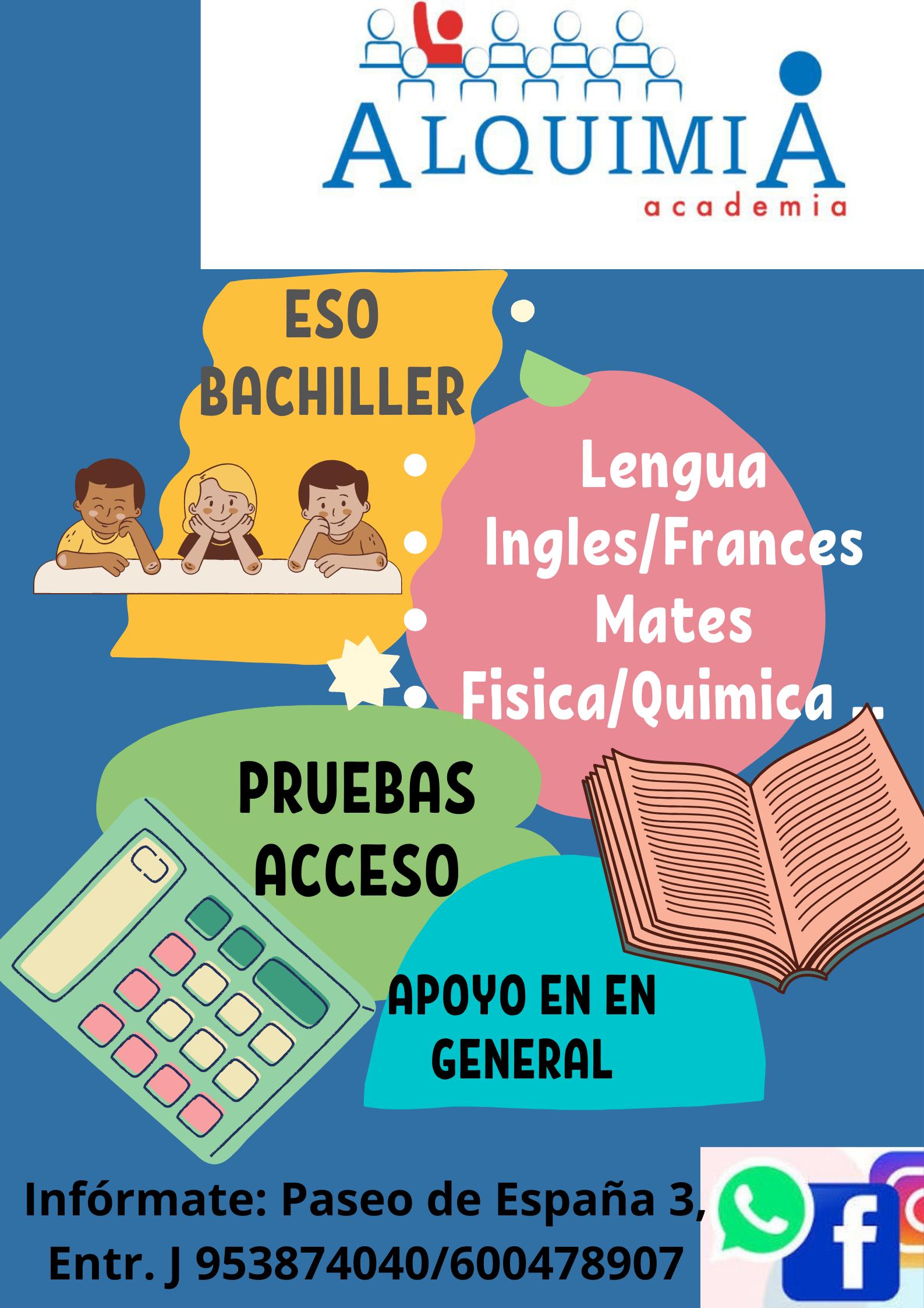 CLASES DE APOYO, PRIMARIA, ESO Y BACHILLER: NUESTRA OFERTA FORMATIVA de Alquimia