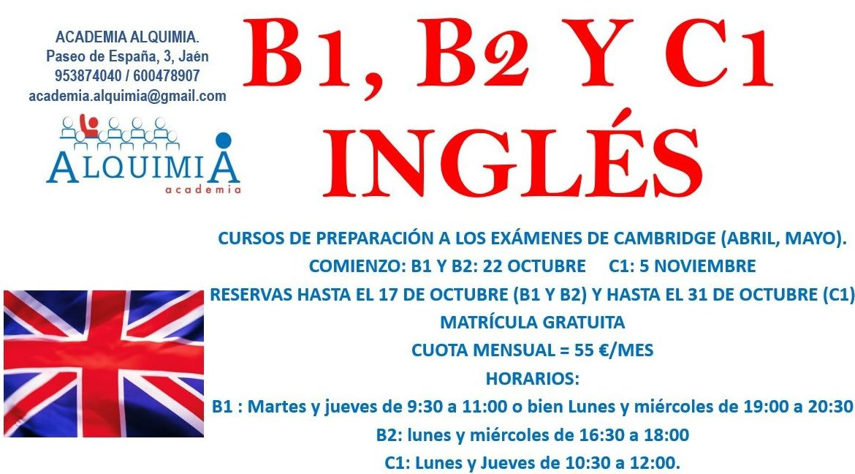 B1, B2 Y C1 INGLÉS  (no intensivo): NUESTRA OFERTA FORMATIVA de Alquimia