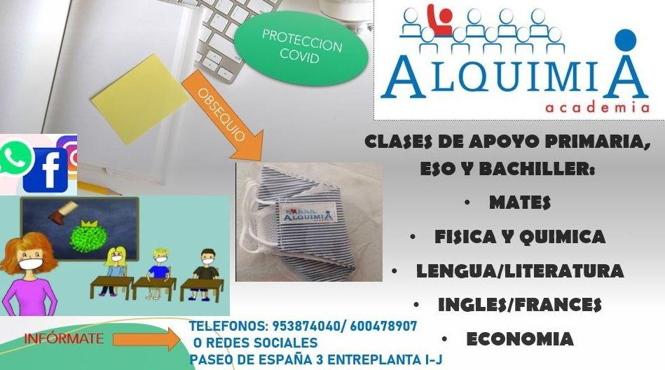 CLASES DE APOYO PRIMARIA, ESO Y BACHILLER: NUESTRA OFERTA FORMATIVA de Alquimia