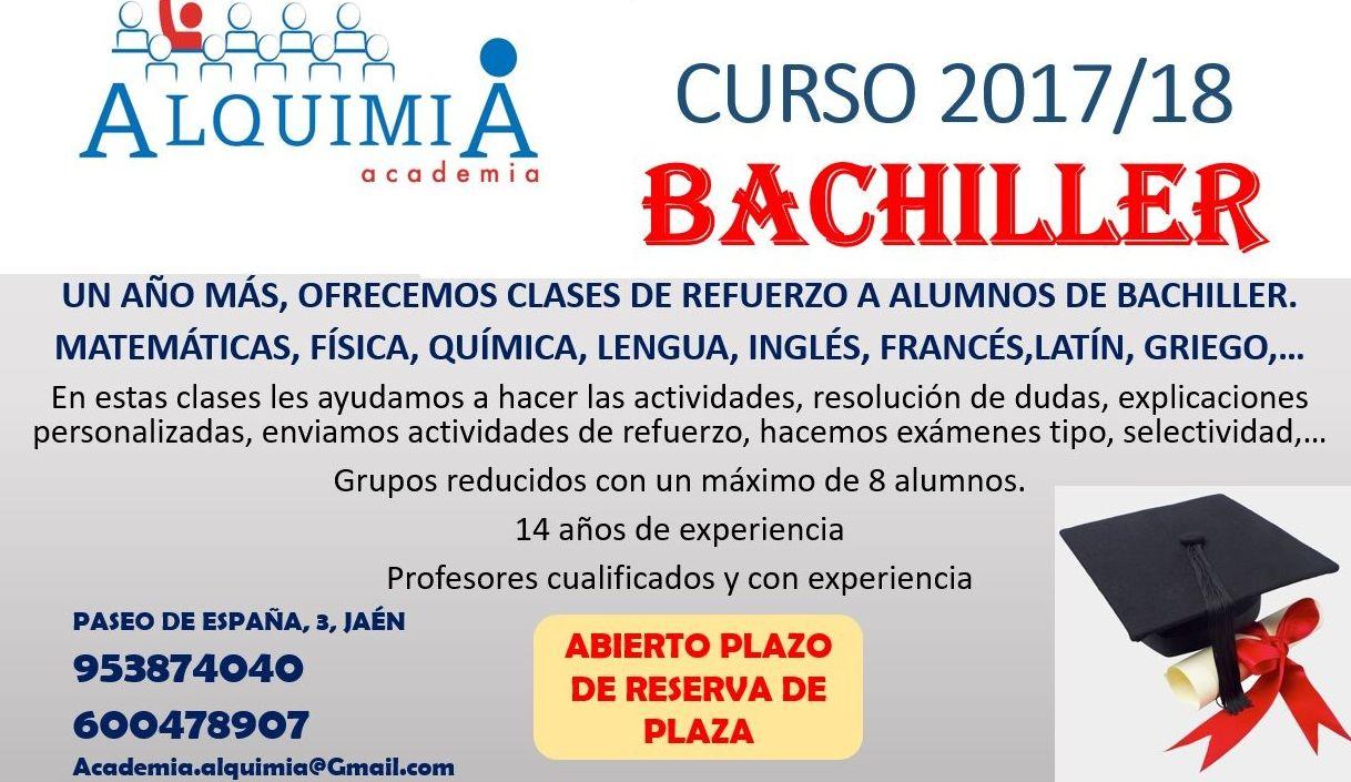CLASES APOYO A BACHILLER: NUESTRA OFERTA FORMATIVA de Alquimia