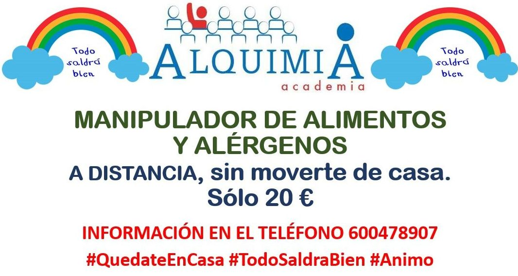 CURSO MANIPULADOR DE ALIMENTOS (INCLUYE ALERGENOS) A DISTANCIA: NUESTRA OFERTA FORMATIVA de Alquimia