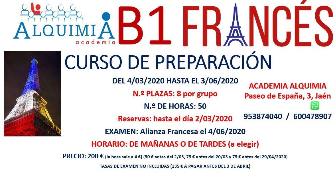 B1 FRANCÉS. Curso preparación al examen de Alianza francesa junio 2020