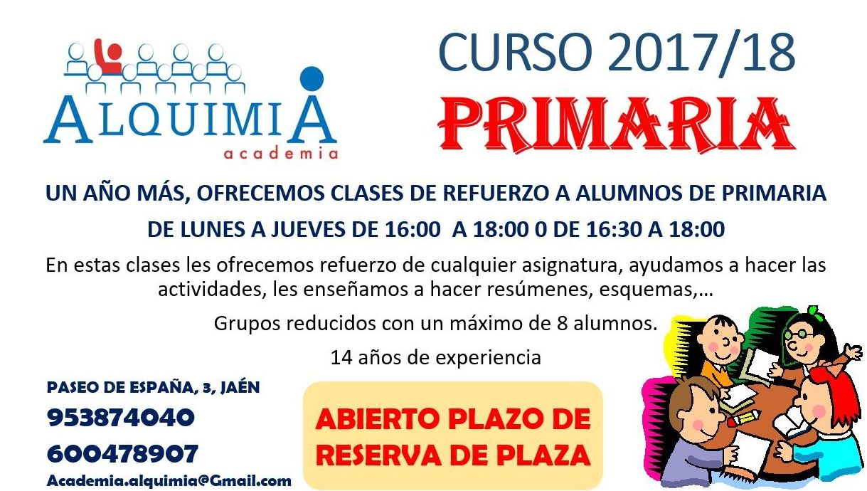 CLASES DE PRIMARIA: NUESTRA OFERTA FORMATIVA de Alquimia