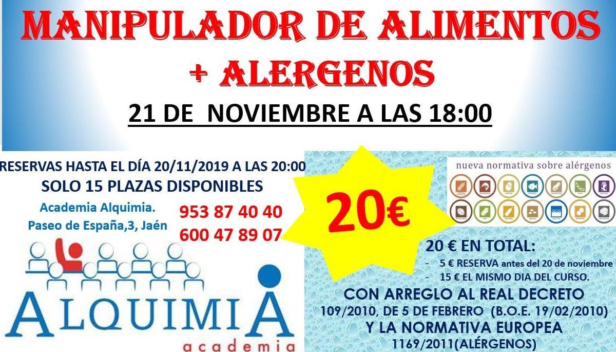 CURSO MANIPULADOR DE ALIMENTOS (INCLUYE ALERGENOS) 21/11/2019: NUESTRA OFERTA FORMATIVA de Alquimia