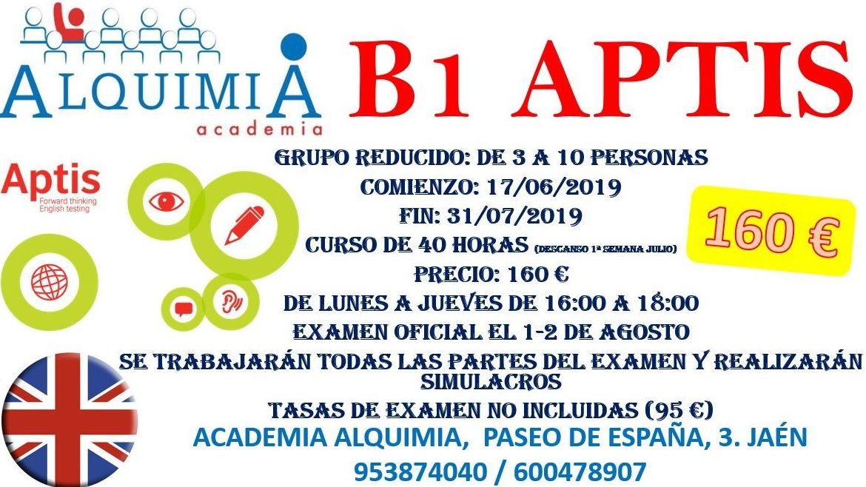 B1 INGLES APTIS (examen 1/08/2019): NUESTRA OFERTA FORMATIVA de Alquimia