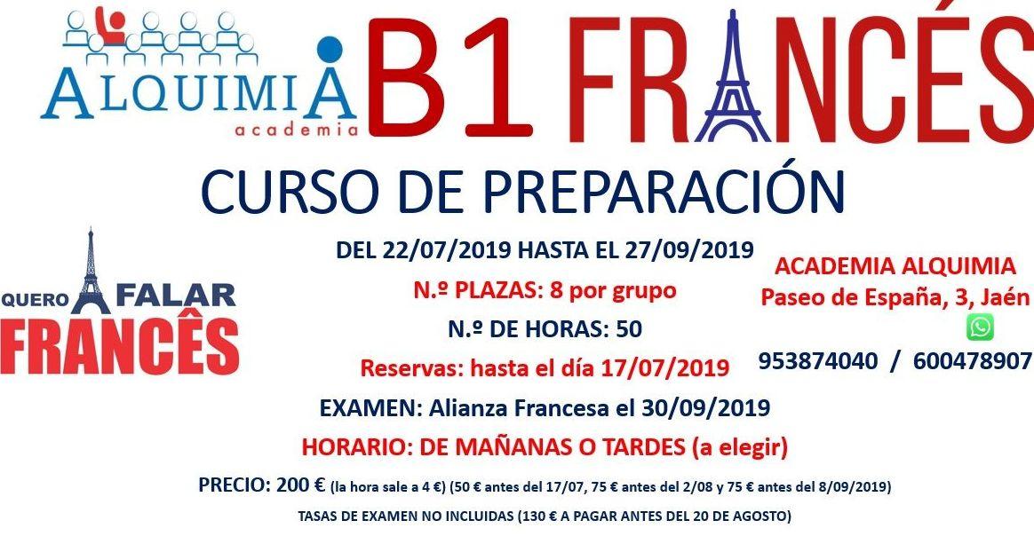 B1 FRANCÉS, Preparación al examen de Alianza Francesa (examen 30/09/2019)