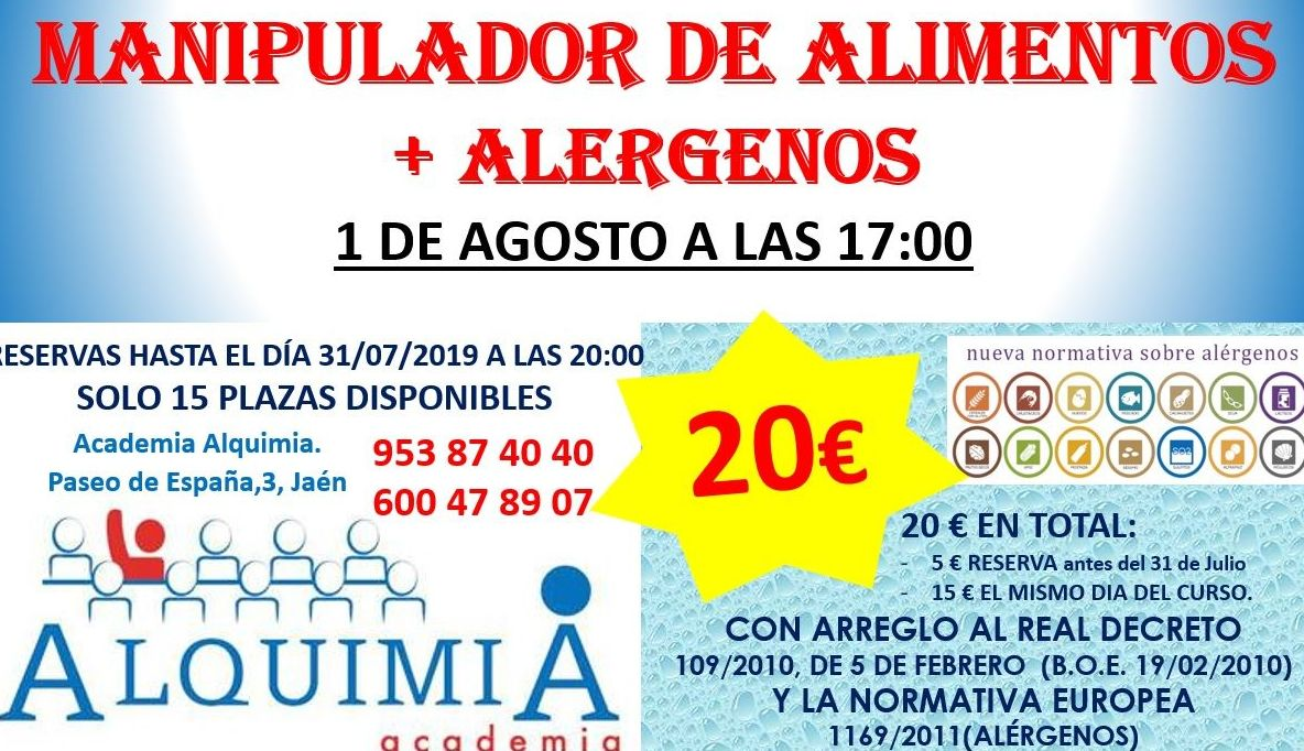 MANIPULADOR DE ALIMENTOS + ALERGENOS 1/08/2019