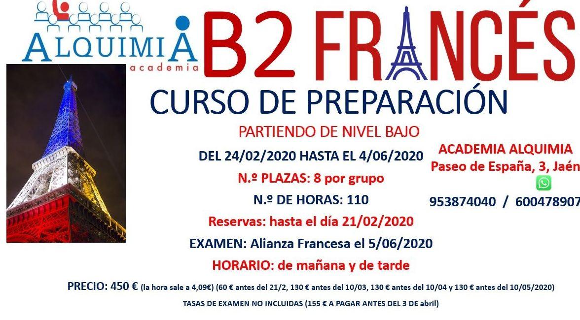 B2 FRANCÉS, partiendo de nivel básico. Ex Alianza Francesa 5/06/2020: NUESTRA OFERTA FORMATIVA de Alquimia