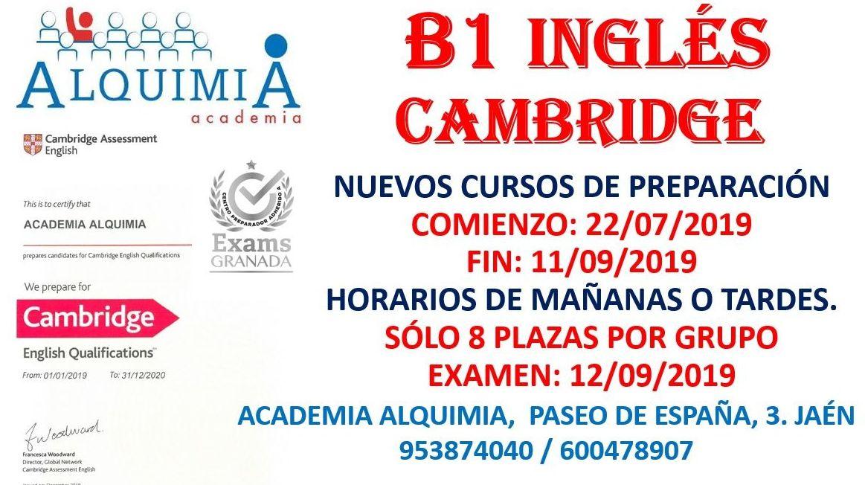 B1 INGLES CAMBRIDGE. Examen oficial 12/09/2019: NUESTRA OFERTA FORMATIVA de Alquimia