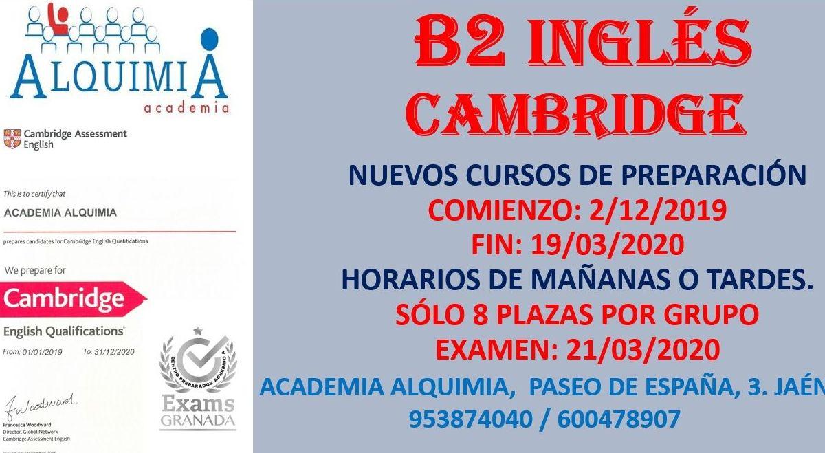 B2 INGLÉS CAMBRIDGE. Curso preparación examen 21/03/2020