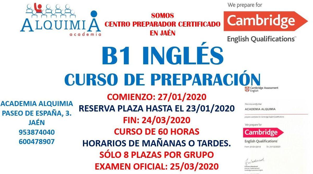 B1 INGLES CAMBRIDGE. Examen oficial 25/03/2020: NUESTRA OFERTA FORMATIVA de Alquimia