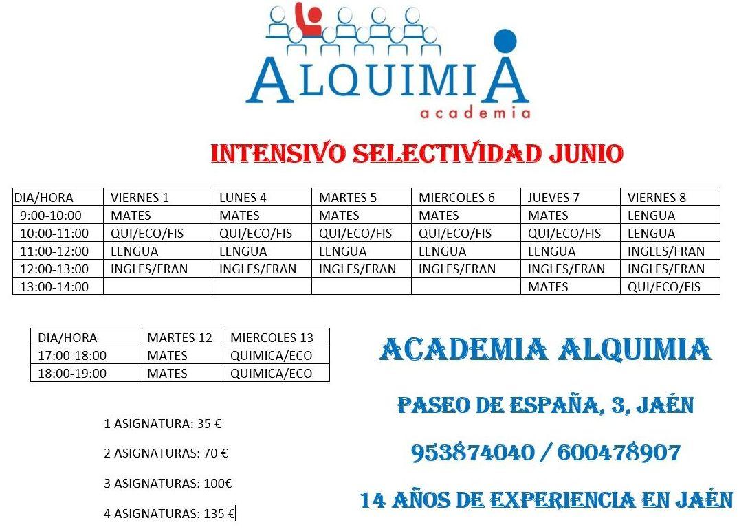 INTENSIVO SELECTIVIDAD JUNIO 2018: NUESTRA OFERTA FORMATIVA de Alquimia