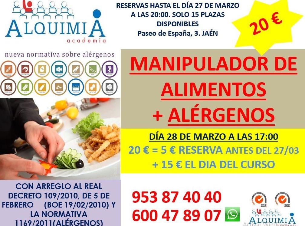 CURSO MANIPULADOR DE ALIMENTOS (INCLUYE ALERGENOS) 28/03/2019: NUESTRA OFERTA FORMATIVA de Alquimia