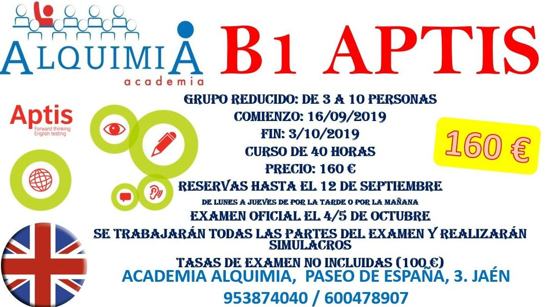 B1-B2 APTIS. Examen oficial 4-5 de octubre: NUESTRA OFERTA FORMATIVA de Alquimia