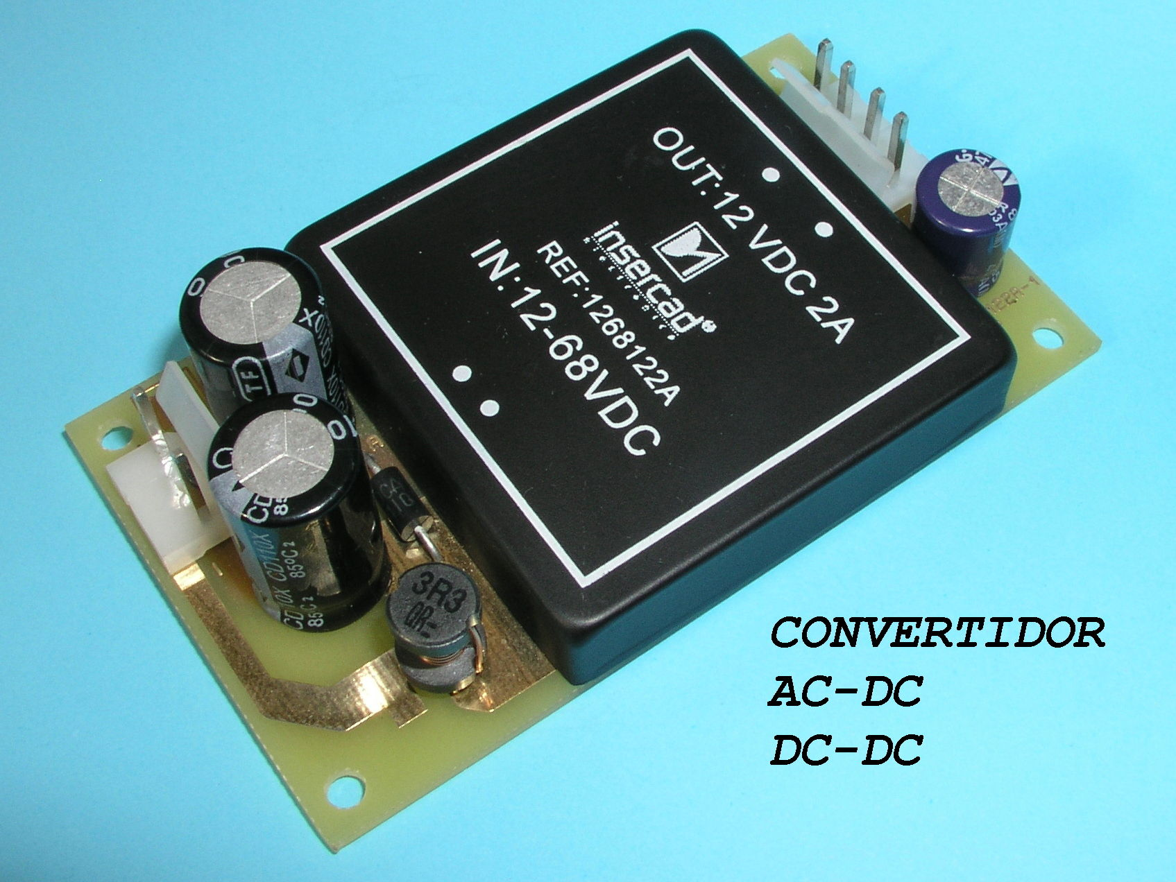 Convertidor DC/DC IN:12-68VDC OUT: 12VDC 2A