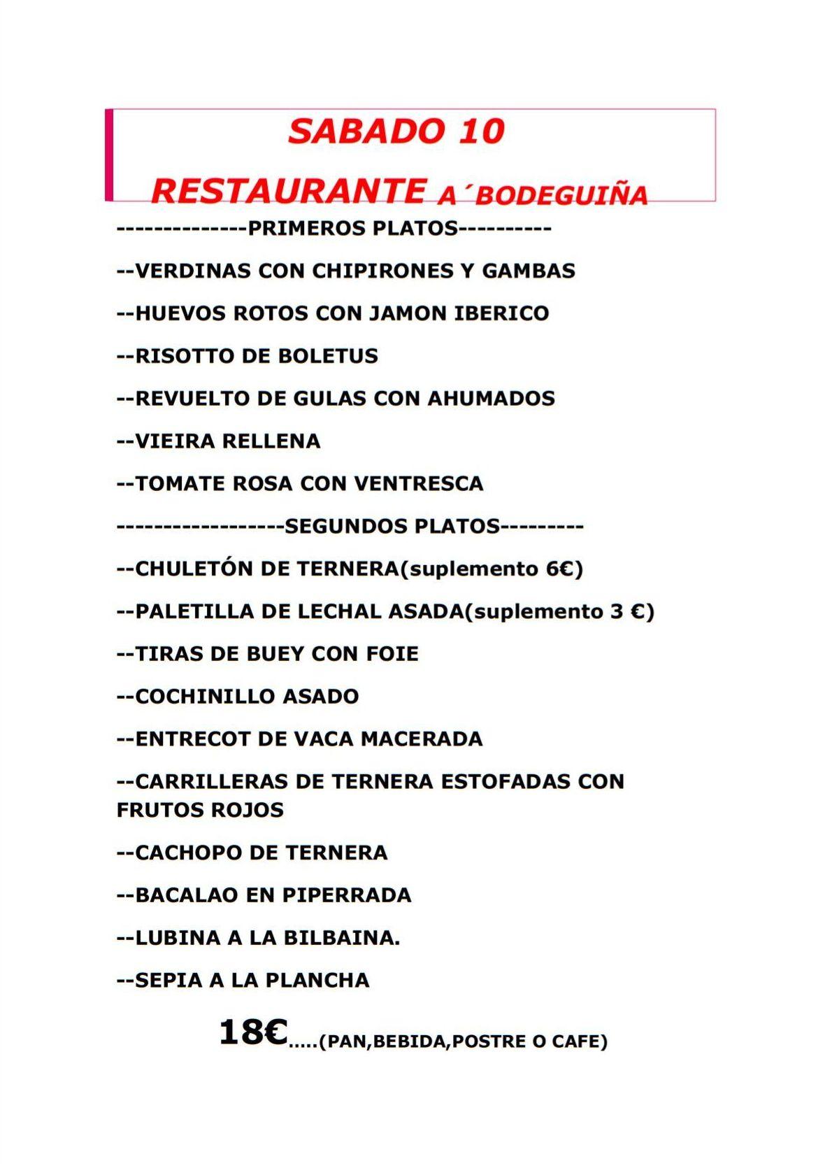 Menú especial para Graduaciones: Carta, menú y eventos de Restaurante A Bodeguiña II