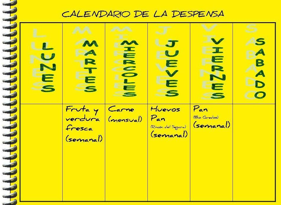 CALENDARIO DE LA DESPENSA }}