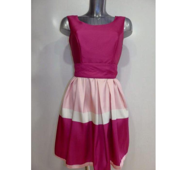 Vestido color fucsia y rosa sin mangas
