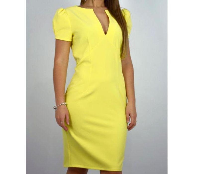 Vestido amarillo con manga corta