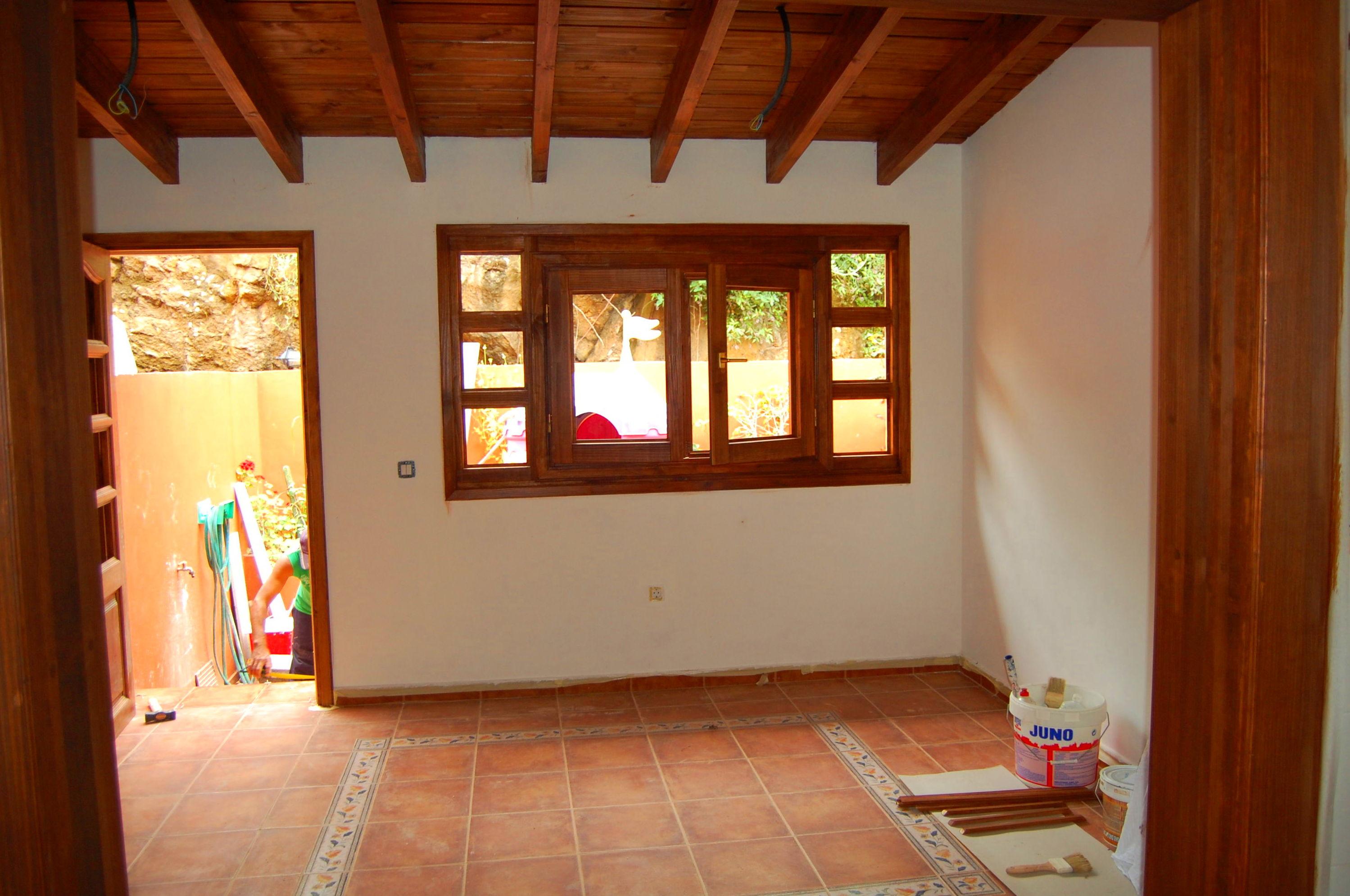 Cerramiento porche madera y pladur