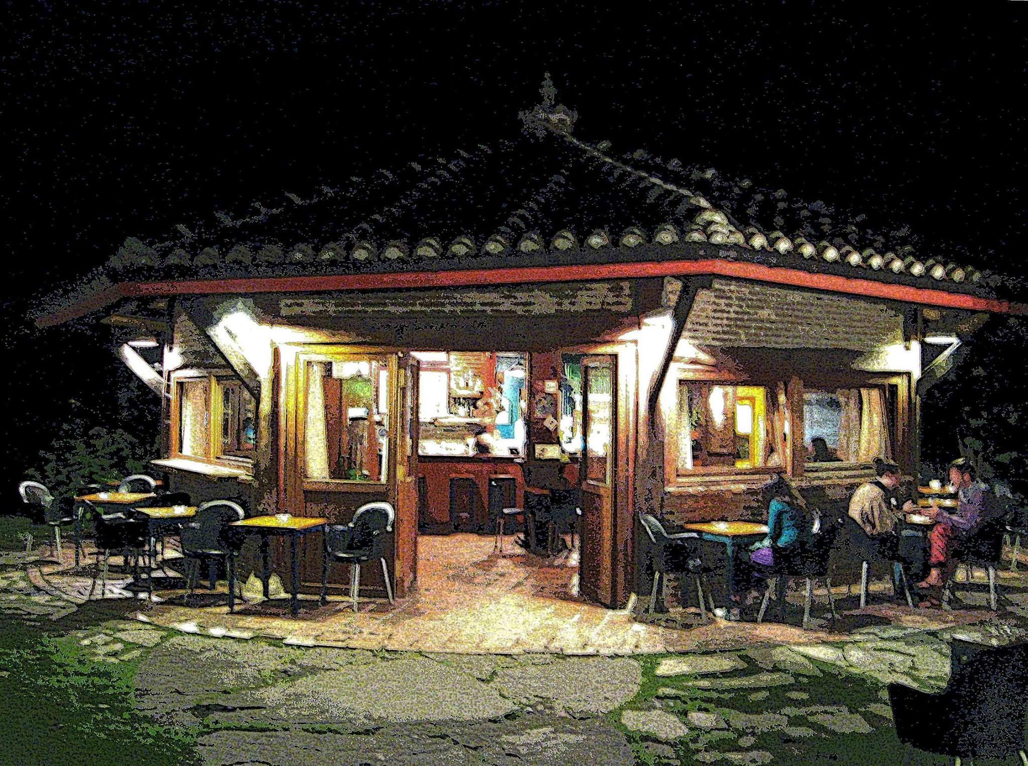 La Palma, café jardín en Cabrales, Asturias