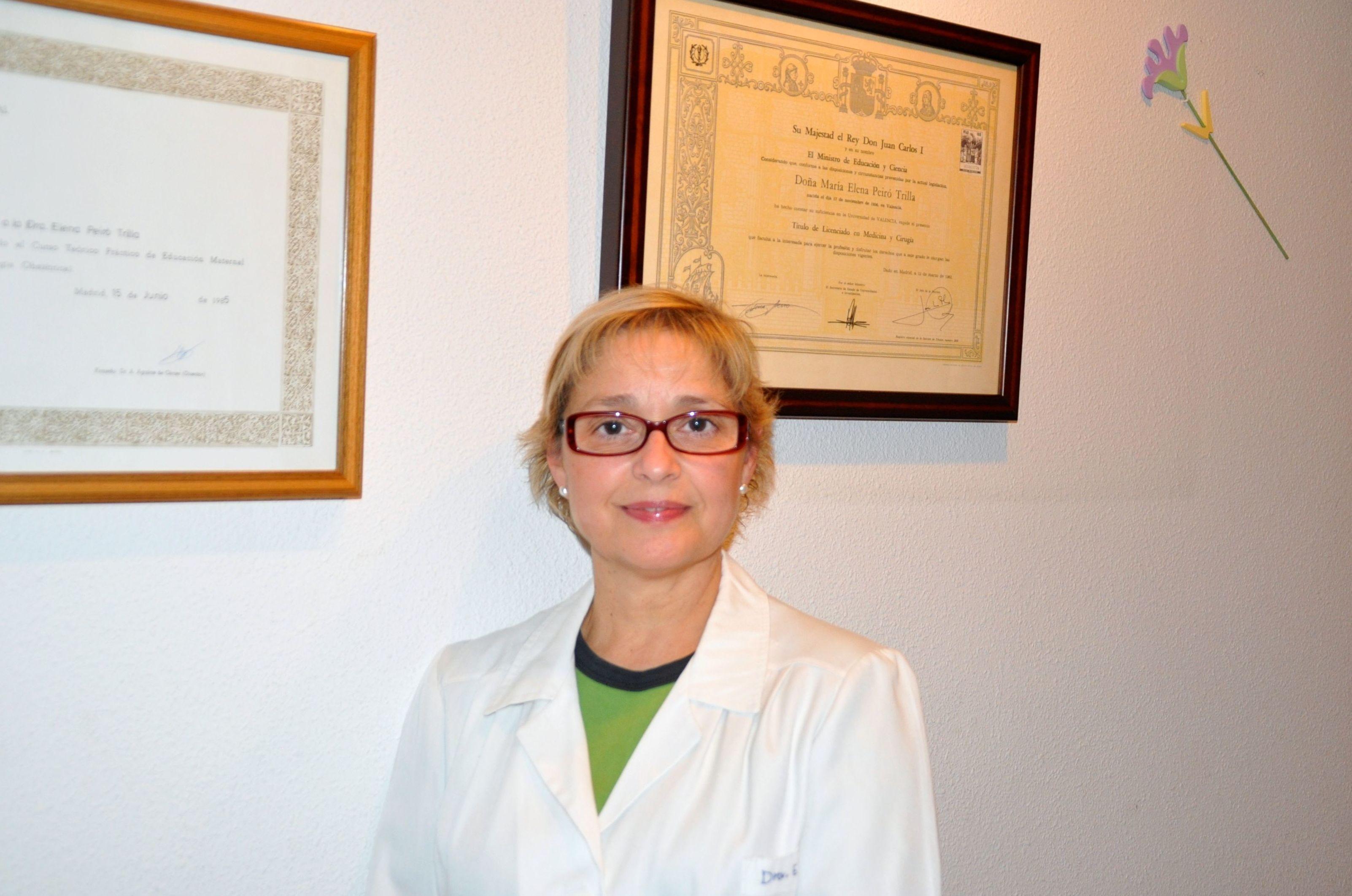 Dra. Elena Peiró Trilla, licenciada en medicina y cirugía por la Universidad de Valencia y sofropedagogía obstétrica colegiada