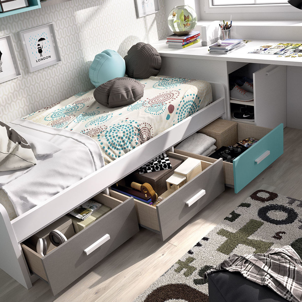 Solución cama cajones contenedor y mesa de estudio con arcón zapatero