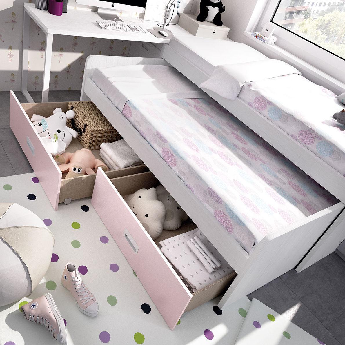 Solución cama doble con cajones contenedor y mesa de estudio