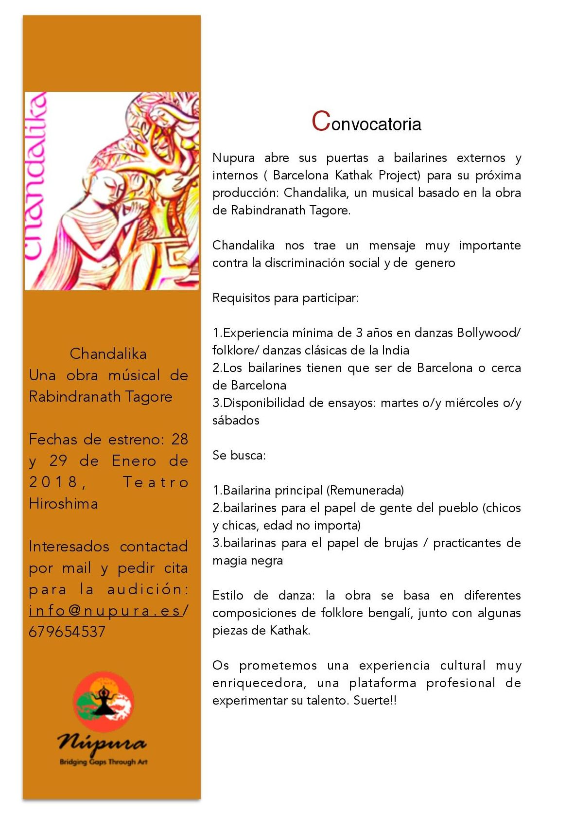 Chandalika: Convocatoria