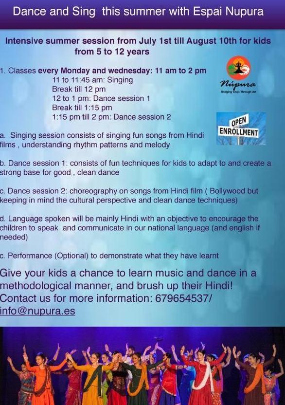 Summer Session Junior: danza, canto, hindi e inglés