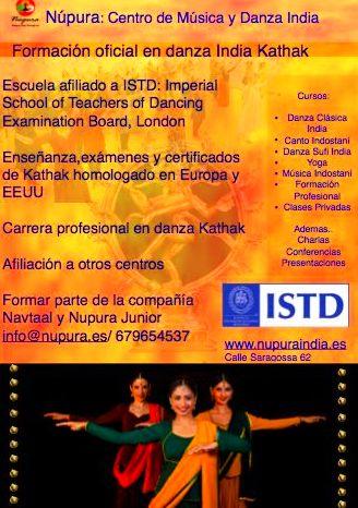Núpura- afiliado a ISTD, centro oficial de estudio de danza Kathak
