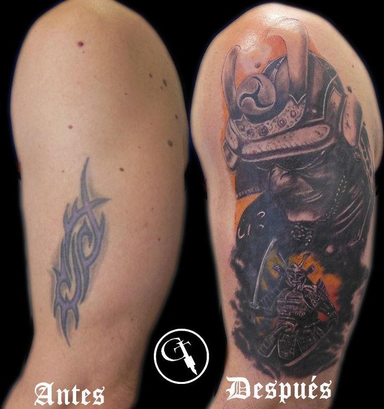 Tapado de tribal con guerrero samurai