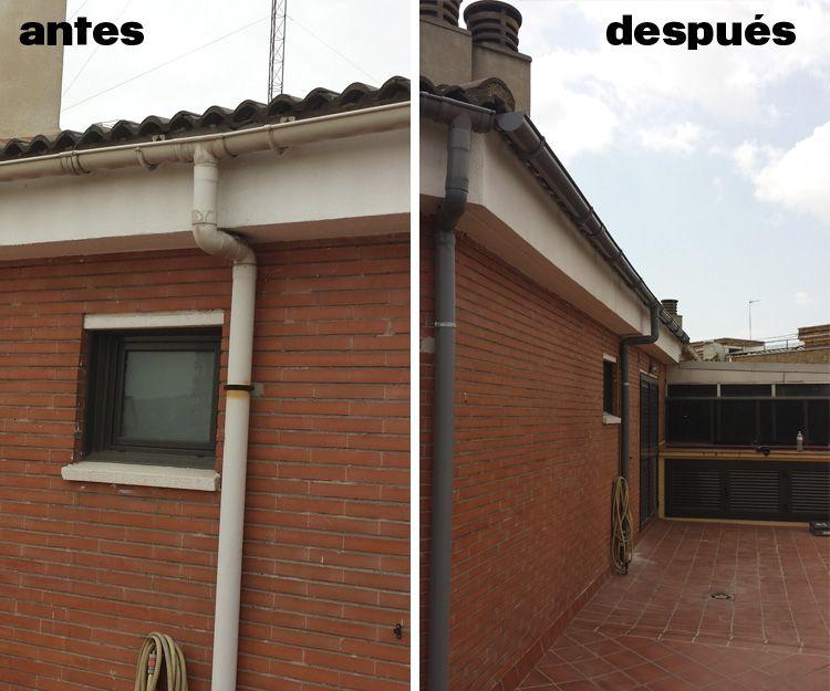 Instalación de canales de pvc antes y después