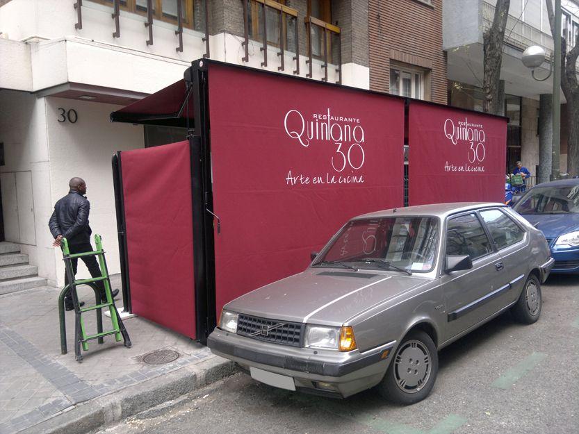 Instalación de toldos para terraza de bar en Madrid
