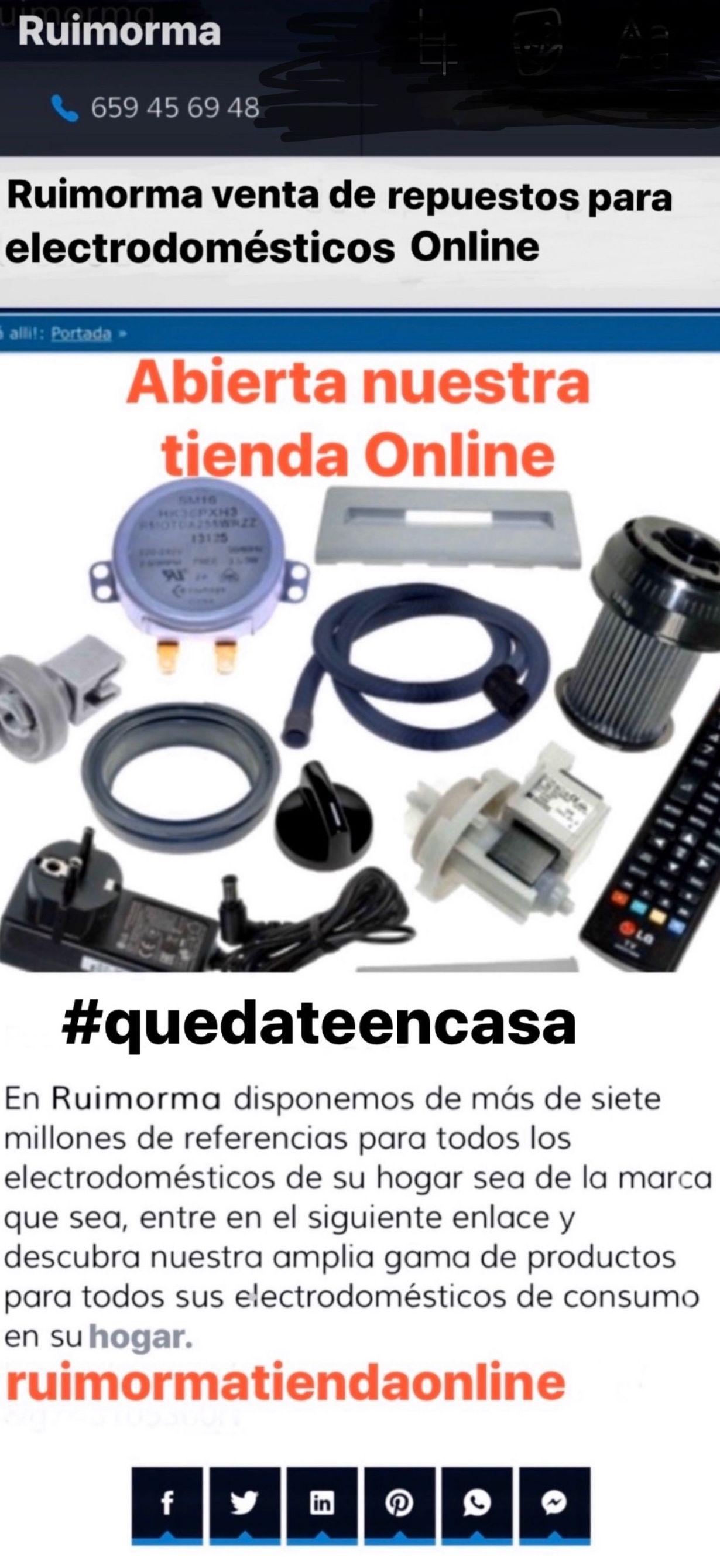 Ruimorma tienda Online repuestos y accesorios para electrodomésticos