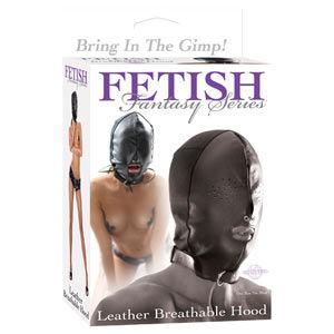 Capucha fetish fantasy extreme de piel con abertura boca