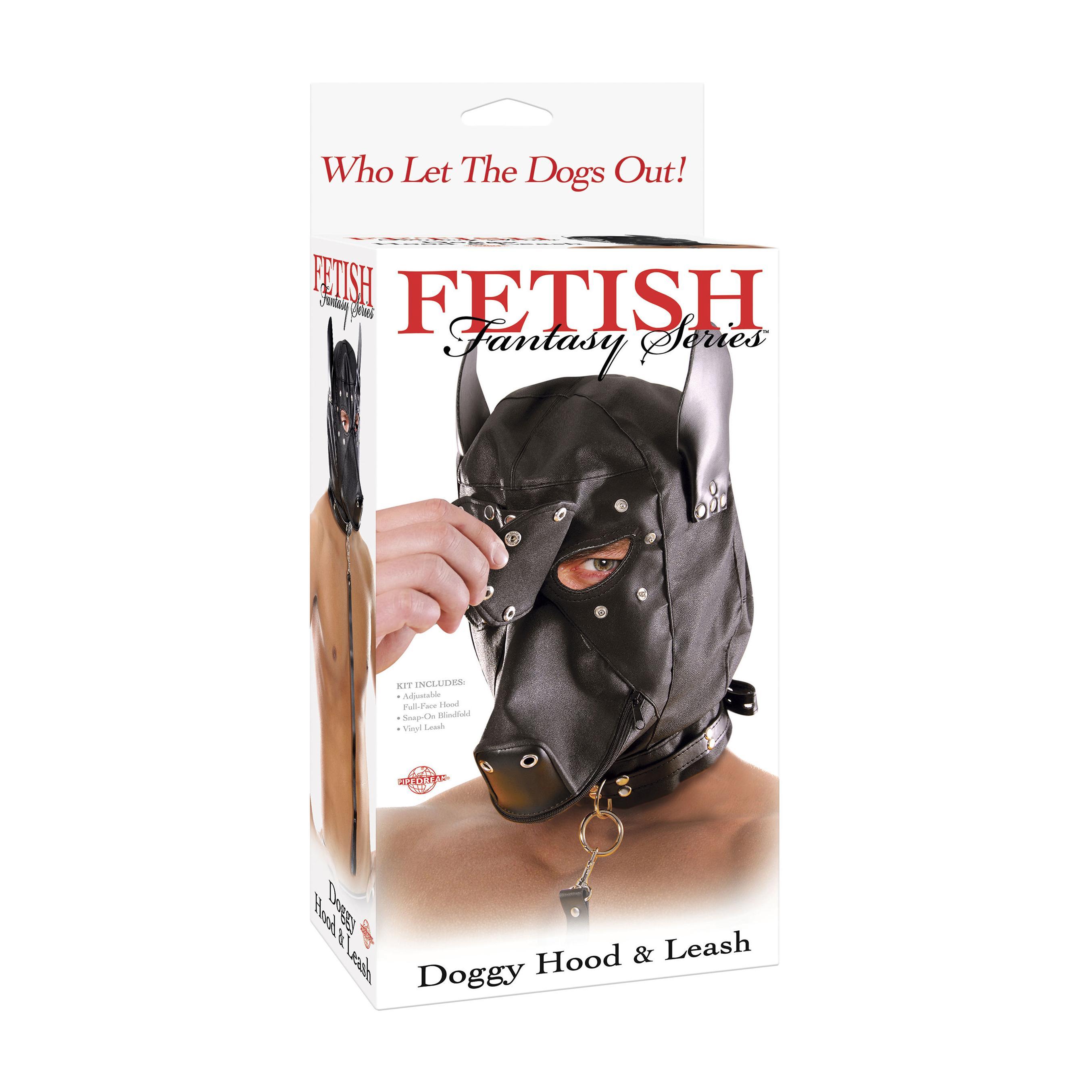 Máscara fetish fantasy extreme de perro con collar cuero negro