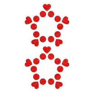 Pezoneras ouch forma cenefa punto y corazones rojo