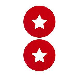 Pezoneras ouch forma circulo con estrella central pequeña roja