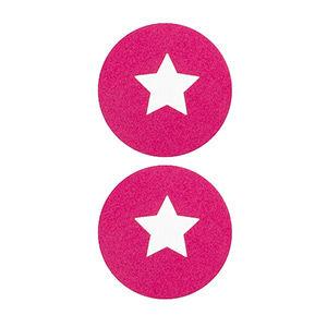 Pezoneras ouch forma circulo con estrella central pequeña rosa