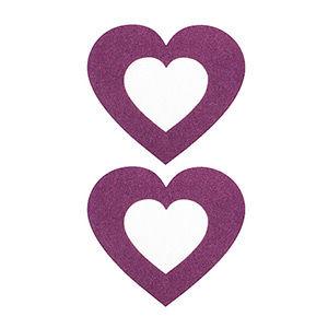 Pezoneras ouch forma corazón central lila