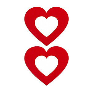 Pezoneras ouch forma corazón central rojo